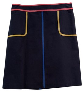 Boden Quality Fabric Flattering Shape Fun Pattern Work Or Play Skirt Navy with accent colors