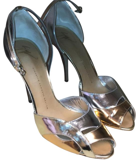 Item - Silver/Bronze Ankle Strap Formal Shoes Size EU 40 (Approx. US 10) Regular (M, B)