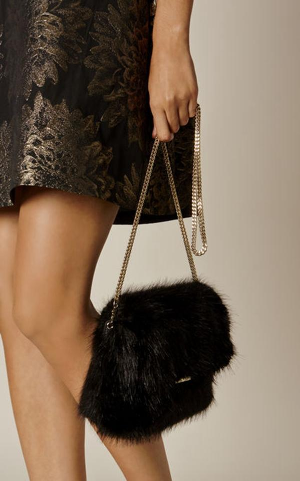 b79d86454c Karen Millen Rockefell Faux Fur Chain Strap Crossbody Black Handbag  Shoulder Bag - Tradesy