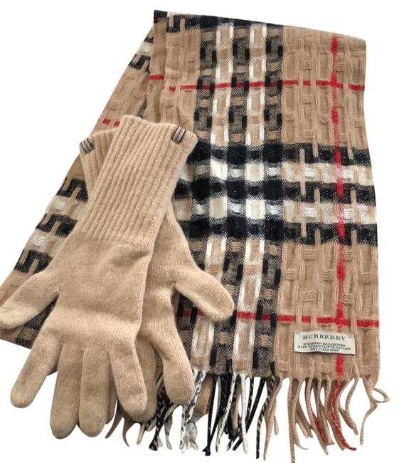 Item - Tan/Black/Gold Giant Check Cashmere and Gloves Scarf/Wrap