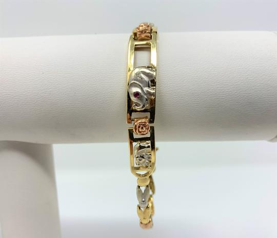 Other 14k Yellow White and Rose Gold Tri Tone Vintage Elephant Chain Link Br