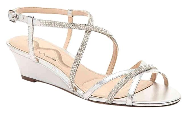 Nina Shoes Silver Franya Sandal Wedges Size US 7.5 Regular (M, B) Nina Shoes Silver Franya Sandal Wedges Size US 7.5 Regular (M, B) Image 1