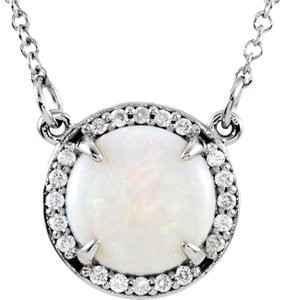 AB.LINO Opal Halo Diamond Necklace