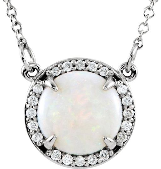 Preload https://img-static.tradesy.com/item/24414376/14k-white-gold-opal-halo-diamond-necklace-0-1-540-540.jpg