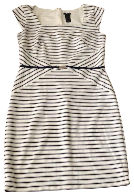Preload https://img-static.tradesy.com/item/24414492/ann-taylor-white-black-and-tan-striped-mid-length-workoffice-dress-size-8-m-0-1-650-650.jpg