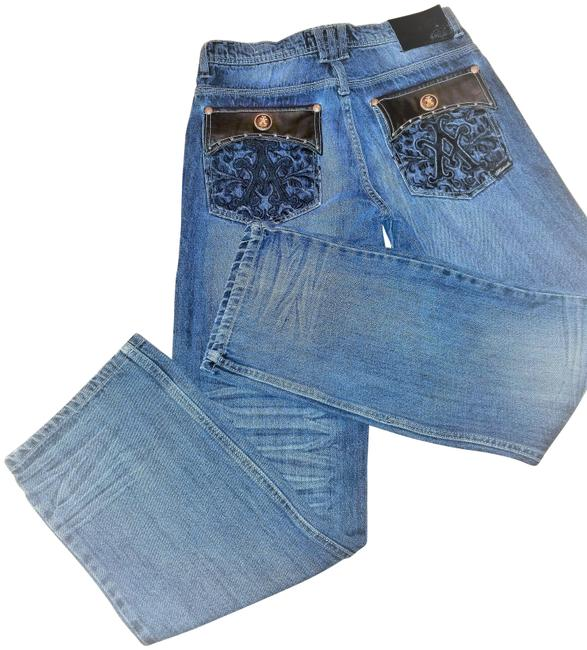Item - Blue and Black Medium Wash With Faux Leather Embroidery On Pockets Straight Leg Jeans Size 20 (Plus 1x)