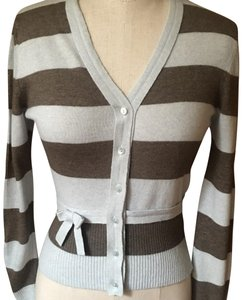 Blumarine Vintage Blue/Taupe Stripe Cashmere Blend 2 Ply Collar/Placket Translucent Buttons Sweater