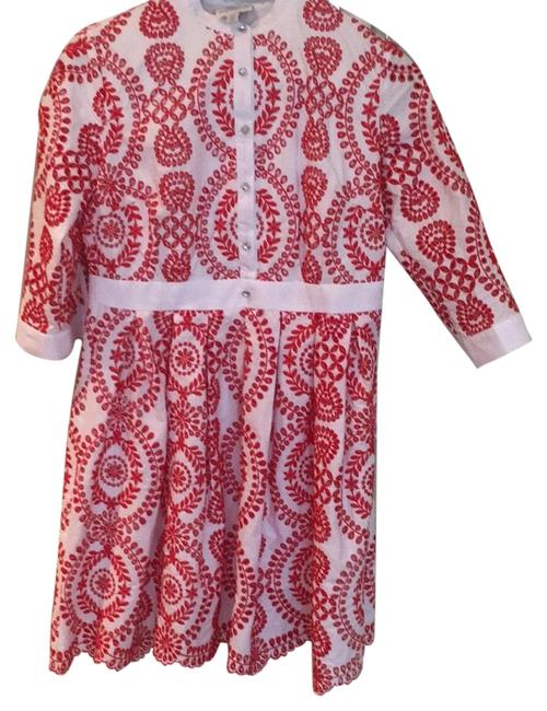Preload https://img-static.tradesy.com/item/24414702/red-and-white-embroidered-mid-length-short-casual-dress-size-4-s-0-1-650-650.jpg