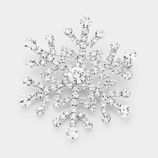 Other Silver Plated Snowflake Pin Brooch Made with Clear Swarovski Crystals