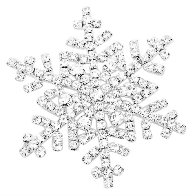 Silver Plated Snowflake Pin Brooch Made with Clear Swarovski Crystals Silver Plated Snowflake Pin Brooch Made with Clear Swarovski Crystals Image 1