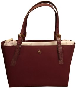 Tory Burch Center Compartment Saffiano Leather Adjustable Handles Burgundy Tote in Imperial Garnet