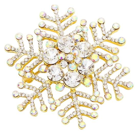 Preload https://img-static.tradesy.com/item/24414921/gols-pearl-crystal-goldplated-snowflake-pin-brooch-wclear-swarovski-and-lg-0-1-540-540.jpg