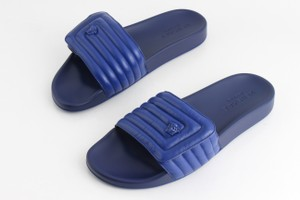 Versace Blue Medusa Head Quilted Pool Slides Shoes