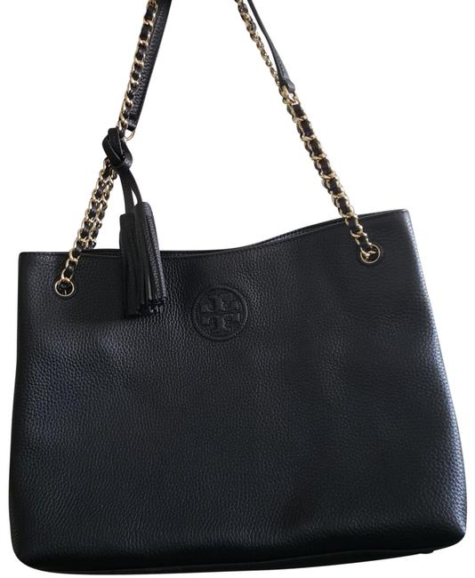 Tory Burch Bombe Black Leather Tote Tory Burch Bombe Black Leather Tote Image 1