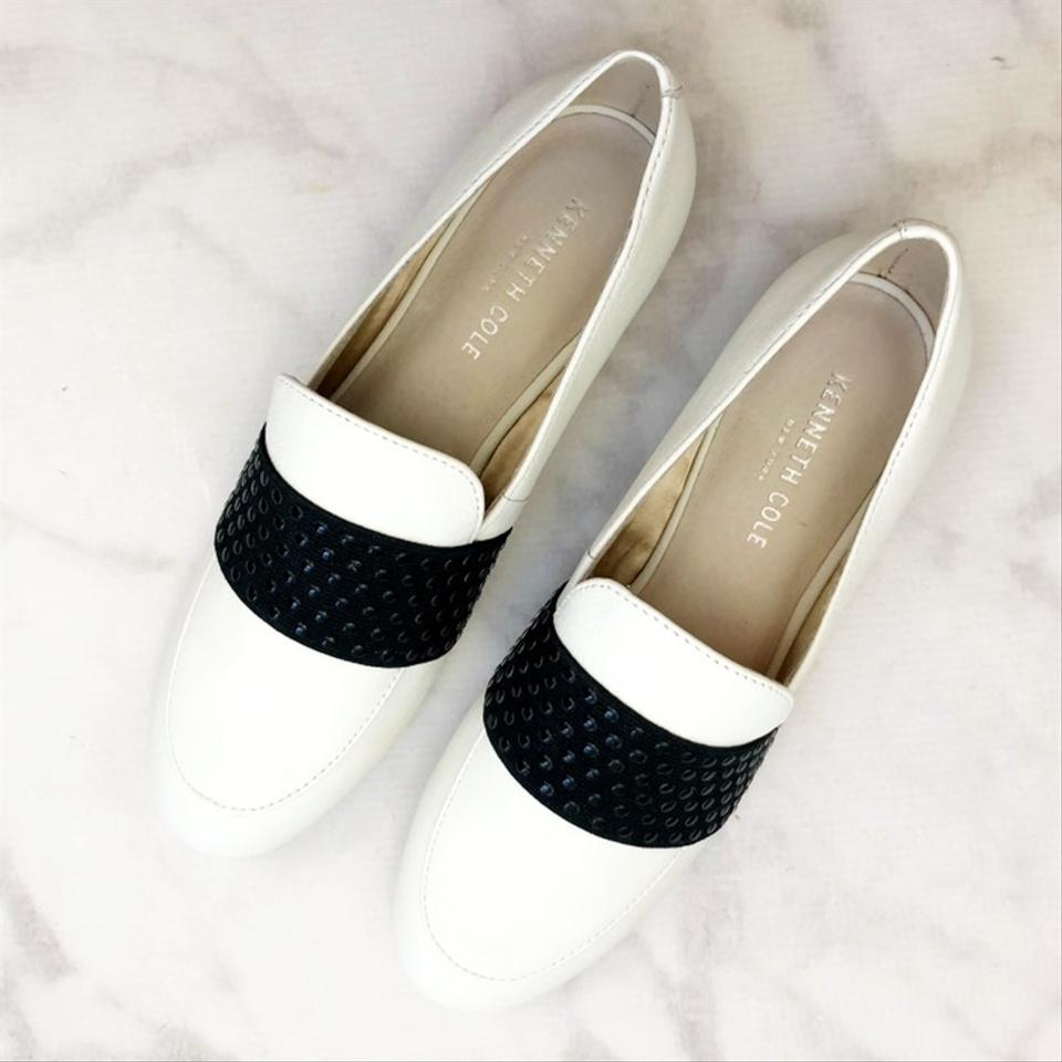 c42c88ad68a Kenneth Cole White Leather Colorblock Studded Loafers Flats Size US ...
