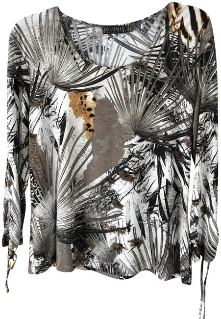 Item - Exotic Leaf Print with Cream Background/Black/Grey/Gold Design Bp286ap Tunic Size 10 (M)