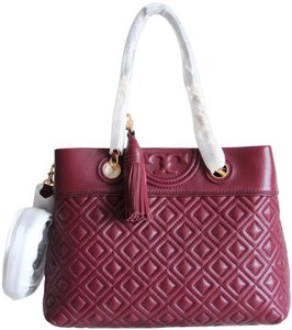 Tory Burch Quilted Small Fleming Cross Body Tote in Red