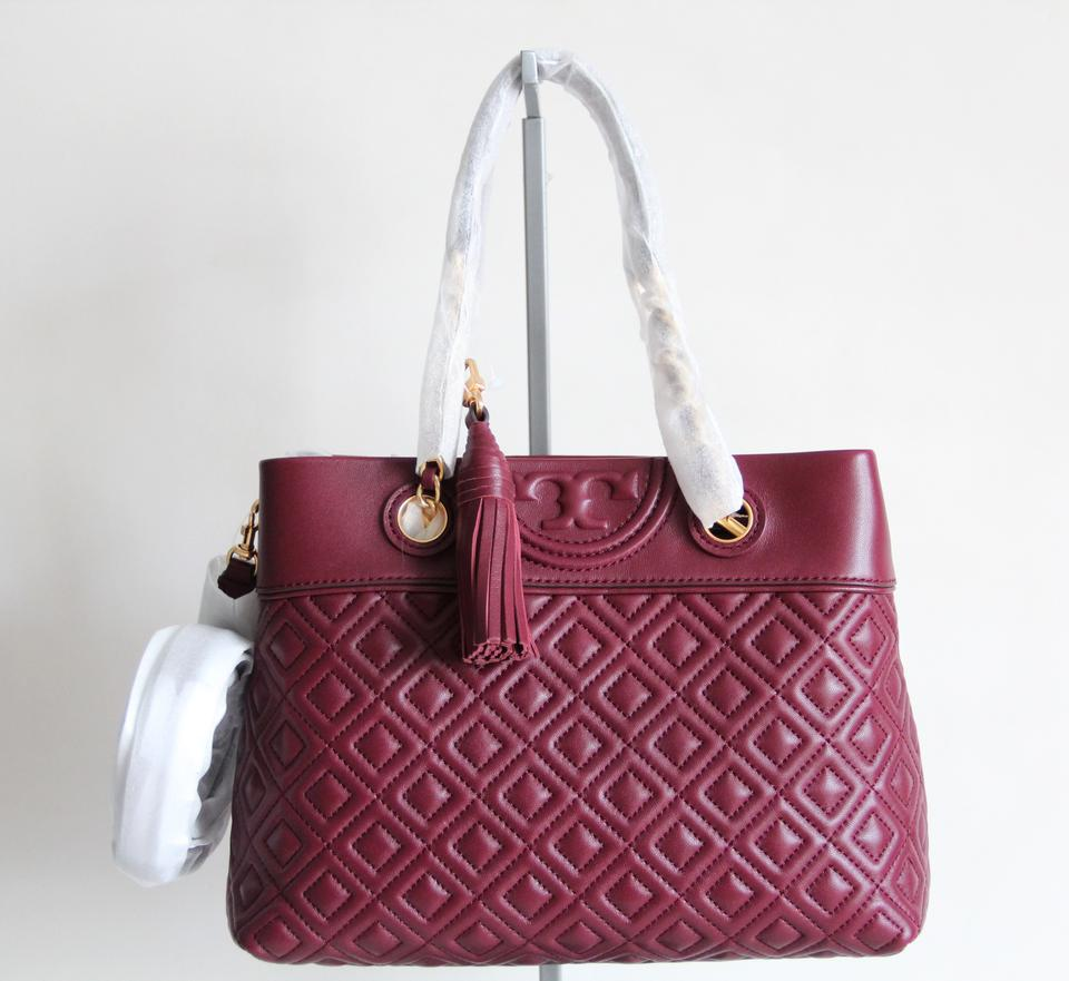 75012417b8f Tory Burch Fleming Small Quilted Crossbody Red Leather Tote - Tradesy