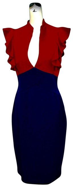Item - Blue/Red And Mid-length Formal Dress Size 0 (XS)