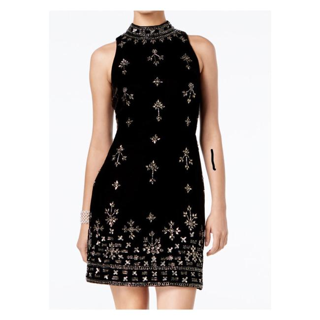 Preload https://img-static.tradesy.com/item/24415304/adrianna-papell-black-velvet-embellished-sheath-short-night-out-dress-size-16-xl-plus-0x-0-0-650-650.jpg