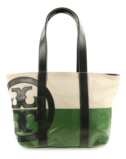 Preload https://img-static.tradesy.com/item/24415306/tory-burch-east-west-logo-green-canvas-tote-0-4-540-540.jpg