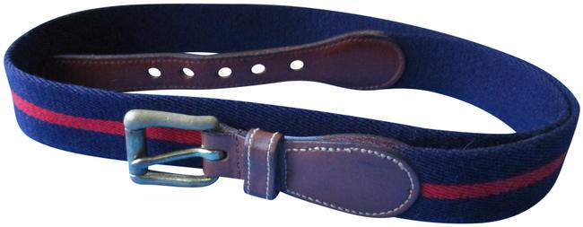 Dooney & Bourke Navy and Red Striped Canvas Brass Buckle Belt Dooney & Bourke Navy and Red Striped Canvas Brass Buckle Belt Image 1