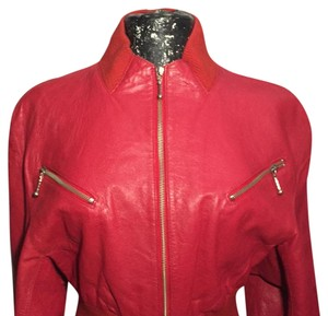 Michael Hoban #vintage #redleather #croppedjacket #sexy Red Leather Jacket
