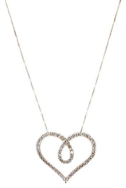 White Heart Shape Cluster Diamond Ladys Pendant W/Chain 18k Rose Gold 1.37ct Necklace White Heart Shape Cluster Diamond Ladys Pendant W/Chain 18k Rose Gold 1.37ct Necklace Image 1