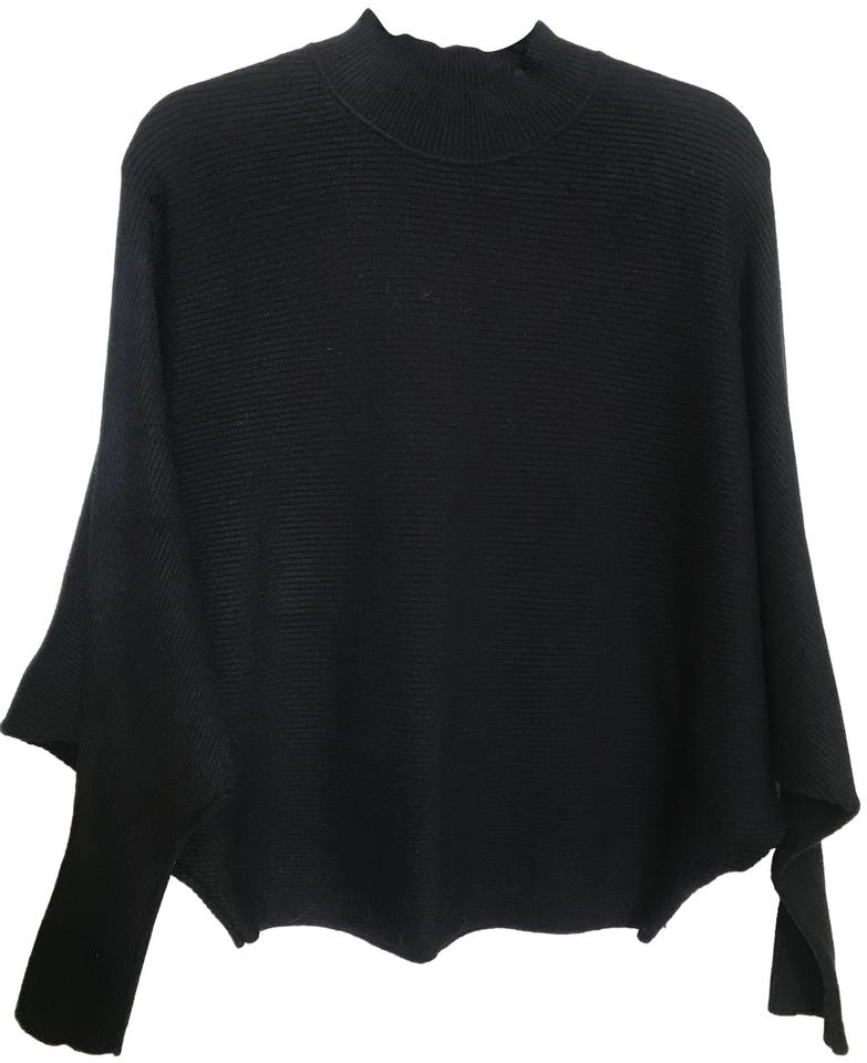 1666ed94 Zara Knit Ribbed Mock Neck Size M Black Sweater - Tradesy