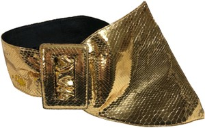 Saint Laurent Women Buckle Corset Belt In Gold Python Embossed Metallic Leather