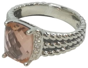 David Yurman David Yurman Wheaton Ring. 8x10mm Morganite and Diamonds, Ring size 7
