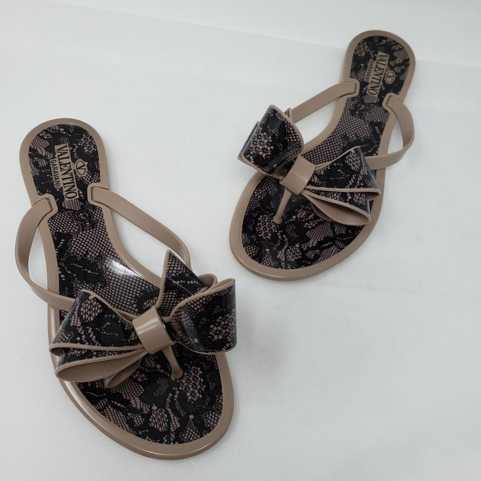 dc8e770b0 Valentino Beige Jelly Lace Print Bow Sandals Size EU 36 (Approx. US 6)  Regular (M