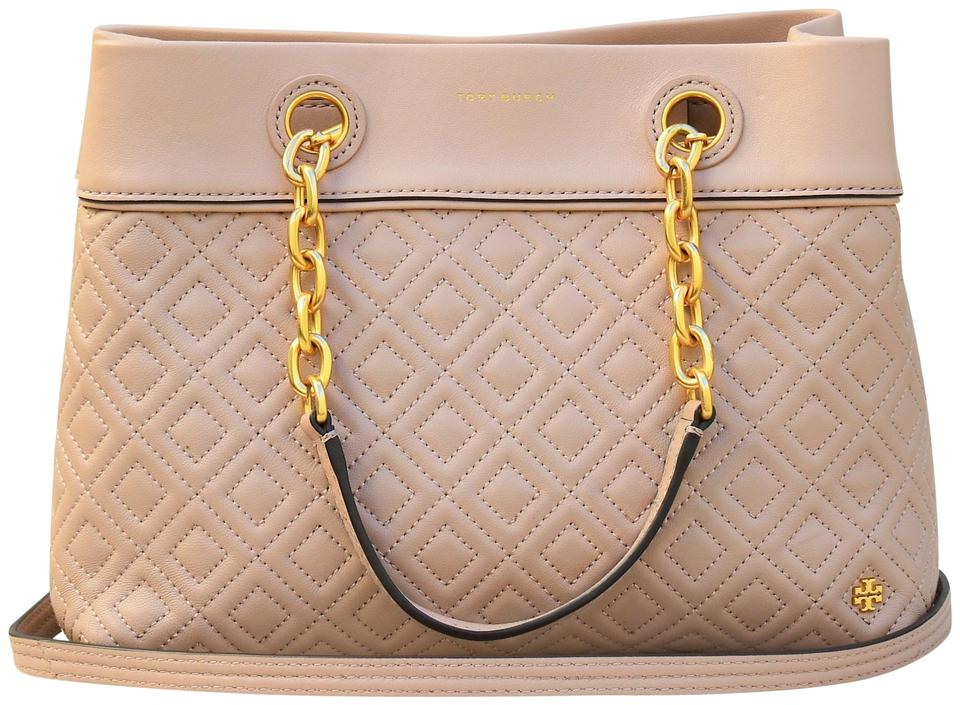213ceaad46b Tory Burch Fleming Small Triple Compartment New Mink Leather Tote ...