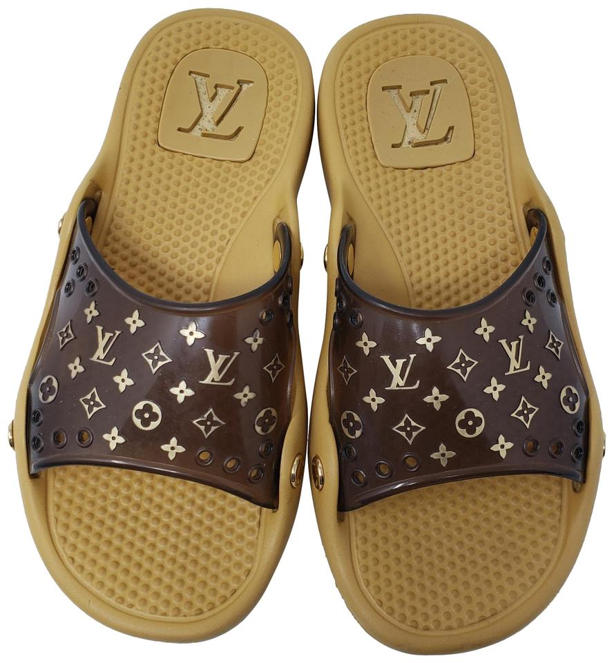6c5200e8300c Louis Vuitton Pvc Gold Hardware Lv Perforated Jelly Brown Sandals Image 0  ...
