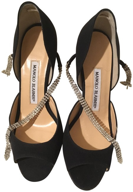Manolo Blahnik Black Maricrona D'orsay with Swarovski Crystals Formal Shoes Size EU 35 (Approx. US 5) Regular (M, B) Manolo Blahnik Black Maricrona D'orsay with Swarovski Crystals Formal Shoes Size EU 35 (Approx. US 5) Regular (M, B) Image 1