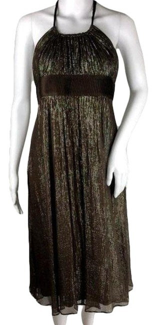 Item - Brown | Metallic Thread- Green Silver and Gold Womens (Sku 001003-7) Short Cocktail Dress Size 8 (M)