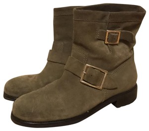 Jimmy Choo Suede Motorcycle Taupe Boots