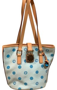 Dooney & Bourke Canvas Silver Hardware Polka Dot Tote in Light Blue w/ tan accent