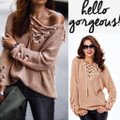 dalia + jade Os Chunky Lace Up V-neck Tunic Grommet 353 Beige Sweater dalia + jade Os Chunky Lace Up V-neck Tunic Grommet 353 Beige Sweater Image 7