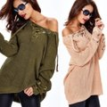 dalia + jade Os Chunky Lace Up V-neck Tunic Grommet 353 Beige Sweater dalia + jade Os Chunky Lace Up V-neck Tunic Grommet 353 Beige Sweater Image 9