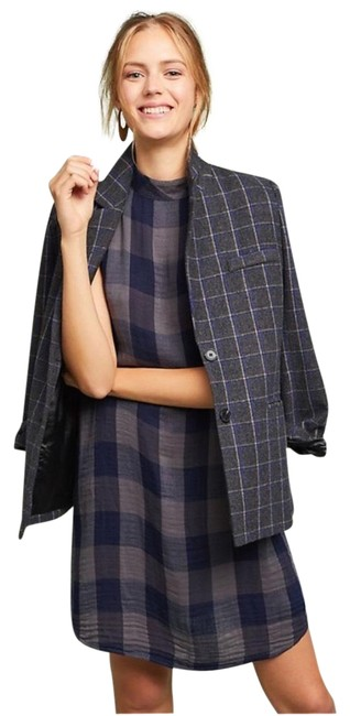 Item - Blue Grey Mockneck Plaid Swing Mid-length Night Out Dress Size 10 (M)