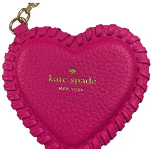 Kate Spade Peony Pink Whip Stitch Leather Heart Keychain