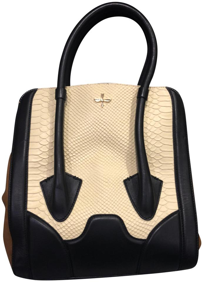 038609321b Pour La Victoire Large Butler Cream. Brown. Black Leather and Suede Tote