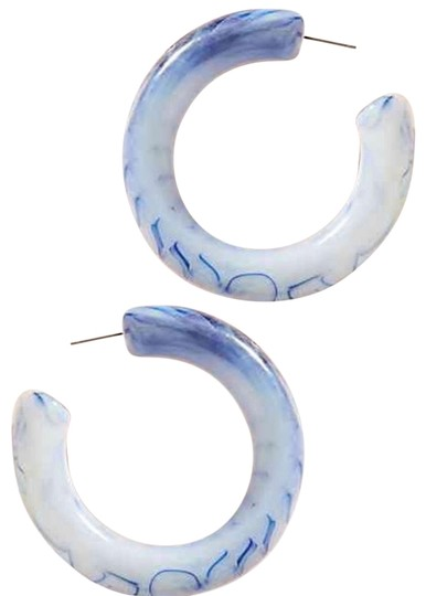Preload https://img-static.tradesy.com/item/24416524/anthropologie-white-blue-marbled-resin-hoops-earrings-0-1-540-540.jpg