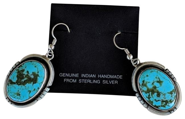 Silver and Turquoise Navajo Earrings Silver and Turquoise Navajo Earrings Image 1