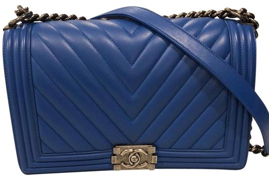 46c105f16bf0ad Chanel Boy Medium Cobalt Blue Lambskin Leather Cross Body Bag - Tradesy