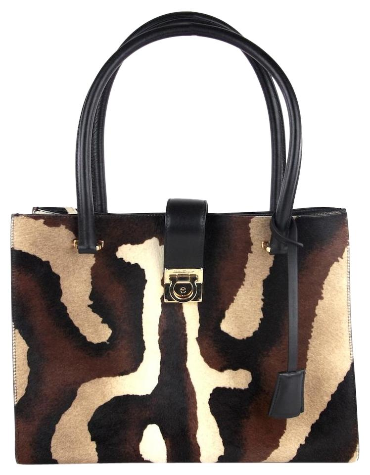 ccd4cbe36ab3c0 Salvatore Ferragamo Animal Print Gancio Black Brown Cream Pony Fur Shoulder  Bag