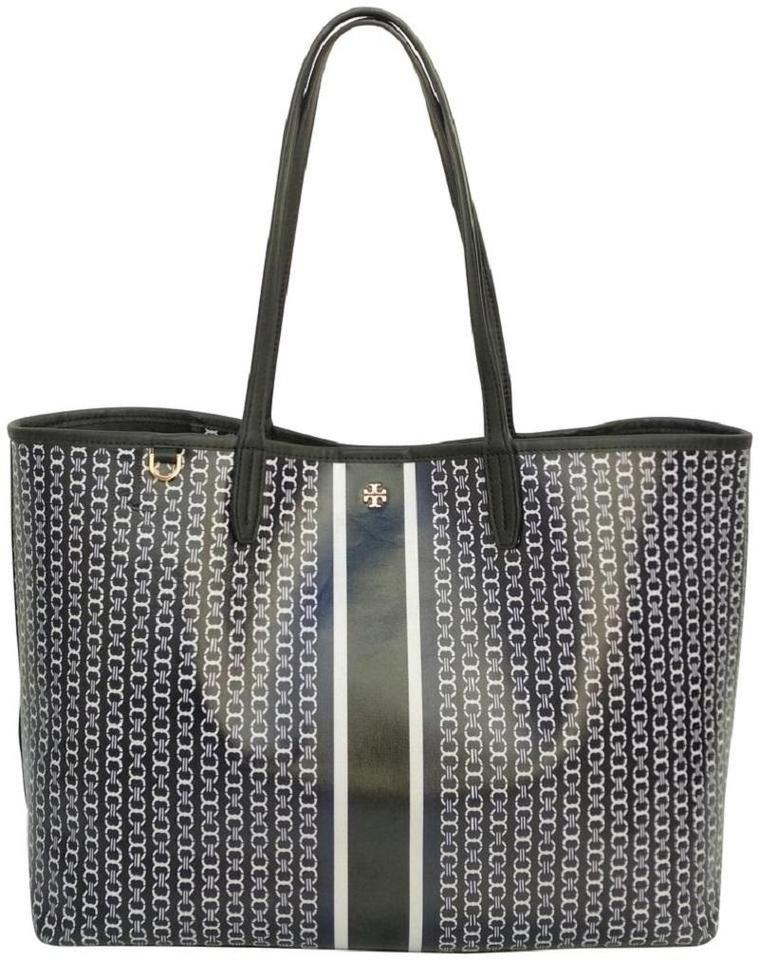 1f2c1d44557 Tory Burch Gemini Link Black   White Coated Canvas Tote - Tradesy