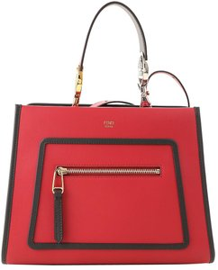 Fendi Designer Leather Handbag Tote in Red