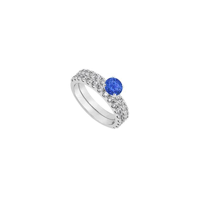 Unbranded Blue Created Sapphire Cubic Zirconia Engagement with Wedding Band Set Ring Unbranded Blue Created Sapphire Cubic Zirconia Engagement with Wedding Band Set Ring Image 1